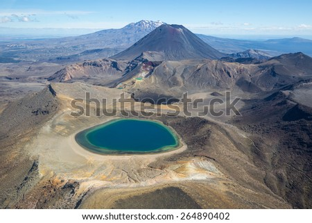 Blue Lake in front of the mountains Tongariro, Ngauruhoe, Ruapehu in Tongariro national park, New Zealand - stock photo