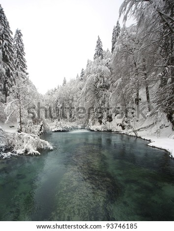 Blue lake in winter surrounded with forest covered in snow - stock photo