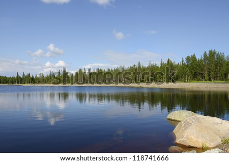 Blue Lake. Nature of the North - stock photo