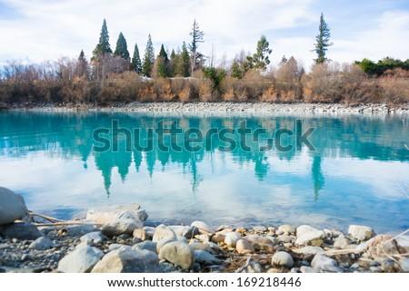 Blue Lake, Tekapo, New Zealand - stock photo