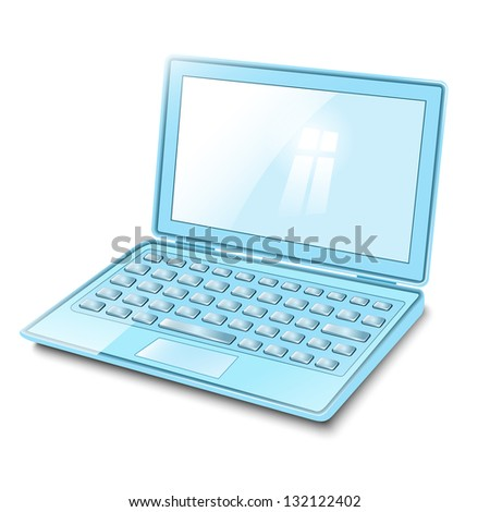 Blue laptop computer on a white background