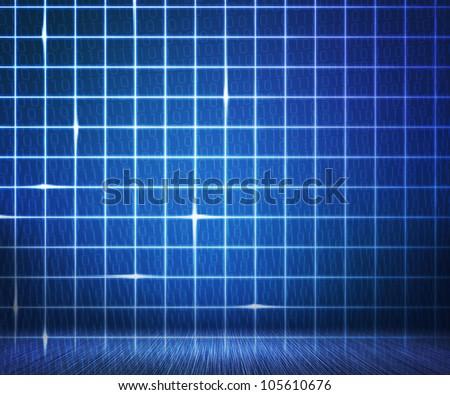 Blue Laser Digital Wall Background - stock photo