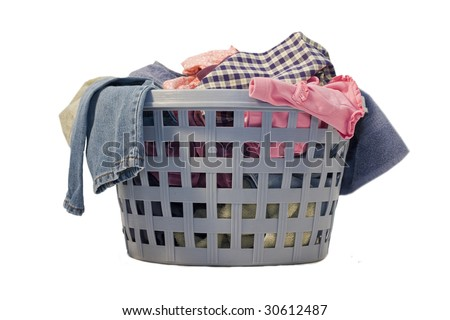 Blue laundry basket full of clean clothes and everything else! - stock photo