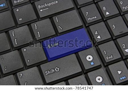 Blue law key closeup - stock photo
