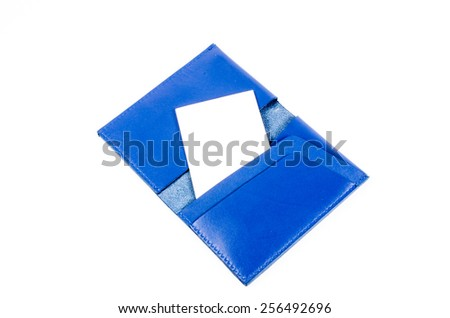 blue leather name card pocket