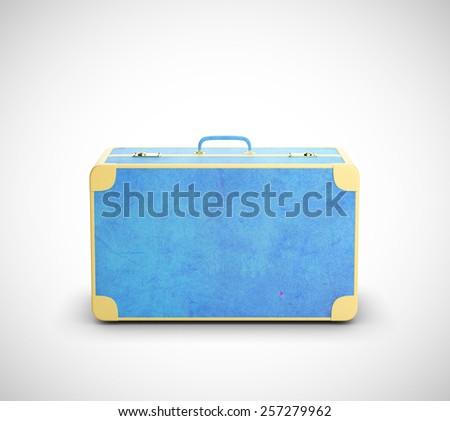 blue leather suitcase isolated on white background - stock photo