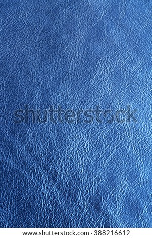 Blue leather texture close up - stock photo