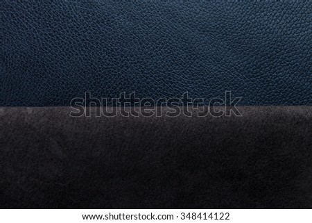 Blue leather texture closeup, useful as background with suede border