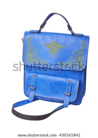 Blue leather vintage briefcase isolated on white background - stock photo