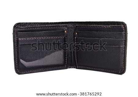 blue leather wallet for men isolated on white