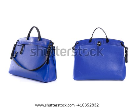 blue leather women handbag isolated on white background