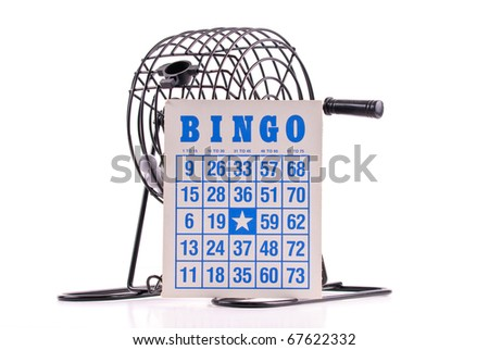 Blue Lettering Bingo Card with Bingo Ball Cage - stock photo