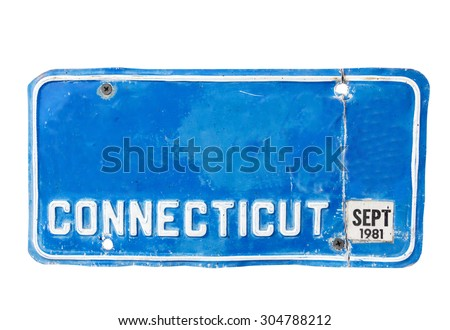 Blue license plate of Conecticut, America on white background, Isolated. - stock photo