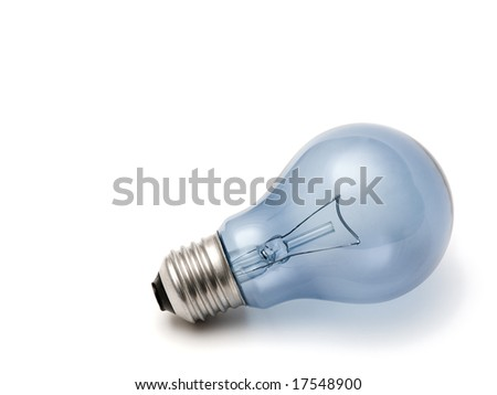 blue light bulb isolated over a white background - stock photo