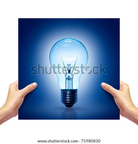 blue Light bulb picture in girl hand on white background. - stock photo