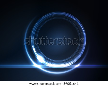 Blue light effects on round placeholder for your text on dark background. Vector available. - stock photo