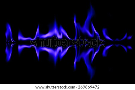 Blue light fire graphic smoke background - stock photo