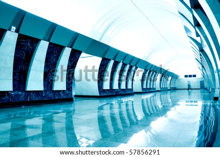 blue light metro station - stock photo
