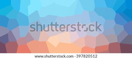 Blue light orange polygonal background. Geometric pattern sunrise on a blue sky looks like. - stock photo