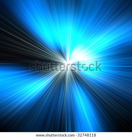 Blue light speed abstract art background image - stock photo
