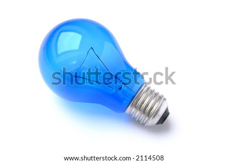 Blue Lightbulb isolated - stock photo