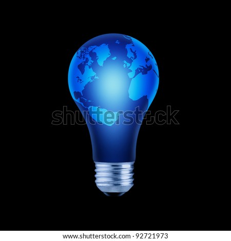 Blue Lightbulb with Globe Map Isolated on Black Background - stock photo