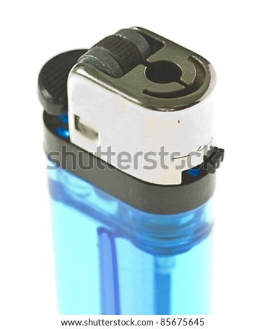 blue lighter isolated on a white background - stock photo