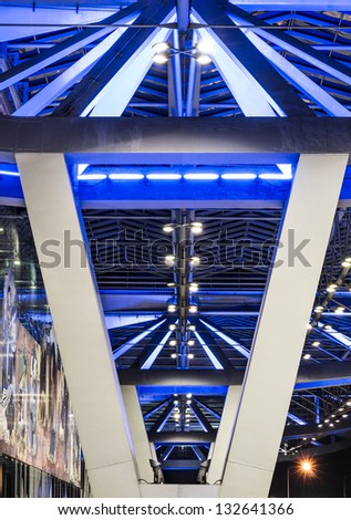 Blue Lighting - Architectural Detail - stock photo