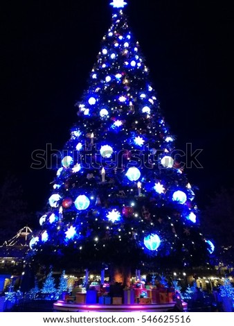 Blue Lighting Christmas Tree