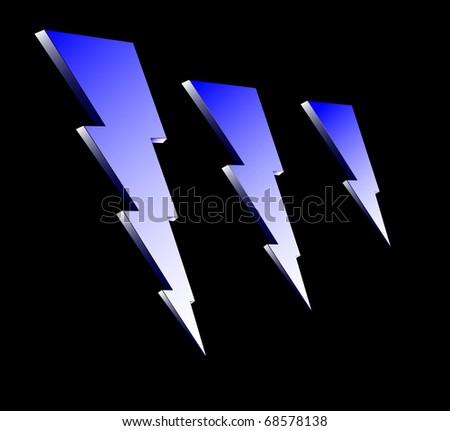 blue lightning icons on black background raster - stock photo