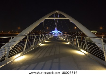 Blue Lights of the Tempe Town Lake Pedestrian Bridge - stock photo