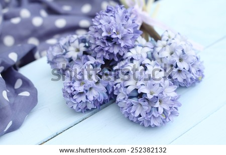 Blue lilac hyacinth on wooden pale duck egg blue painted wooden boards ,spotty periwinkle fabric in background, pretty spring image , shallow depth of field , mothers day - stock photo