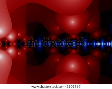 Blue Line Glowing Through Red - Illustration - stock photo