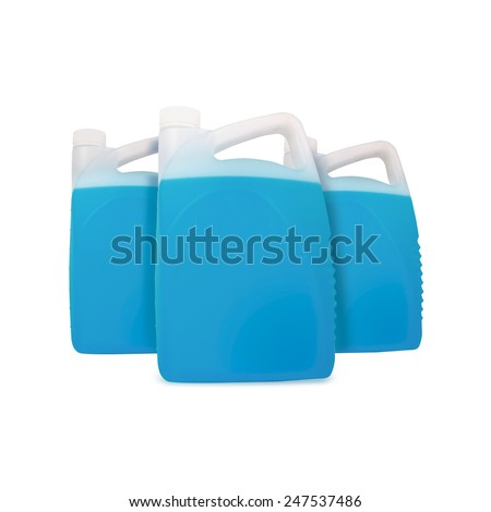 Blue liquid for car in canister | bottle | Jerrycan | jug | pack | isolated - stock photo