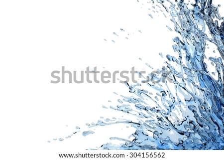 Blue liquid splash against white - stock photo