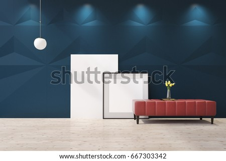 Blue living room interior with a red coffee table, a flower vase standing on it and two posters standing behind it near a wall. 3d rendering mock up