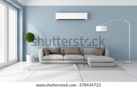 Blue living room with  gray sofa and air conditioner on wall - 3D Rendering - stock photo