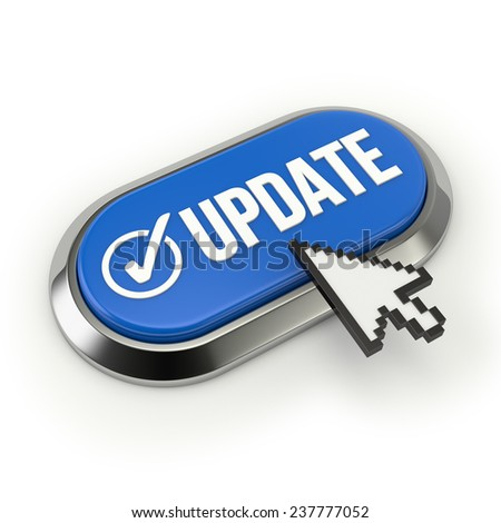 Blue Long Update Button With Chrome Border On White Background - stock photo