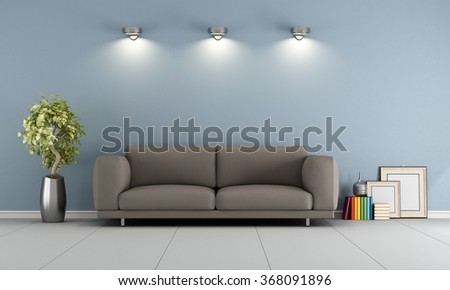 Blue lounge with elegant brown sofa - 3D Rendering - stock photo