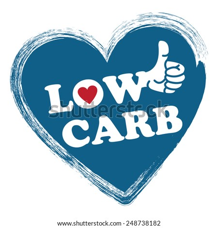 Blue Low Carb Heart Shape Sticker, Icon or Label Isolated on White Background  - stock photo