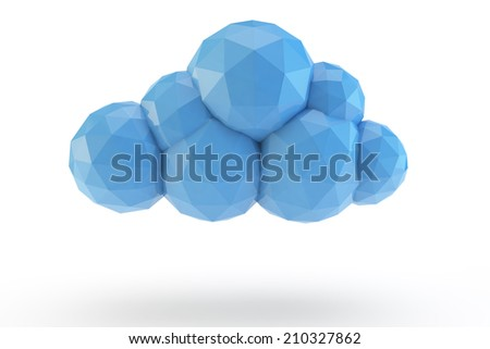 blue low poly of a cloud - stock photo