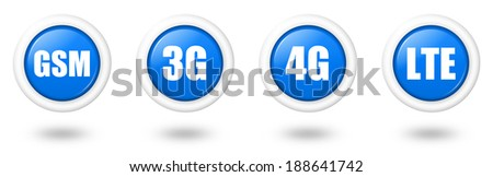 Blue LTE, 4G, 3G and GSM telecommunication icon set with shadow - stock photo