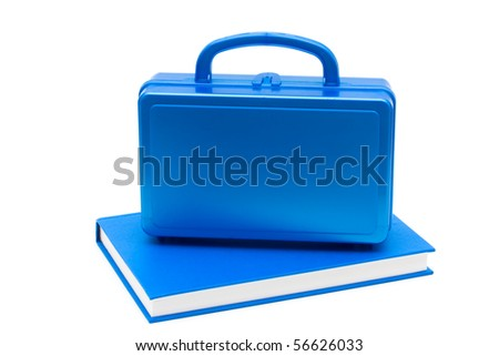 Blue lunch box with a blue book isolated on white, School Lunches - stock photo