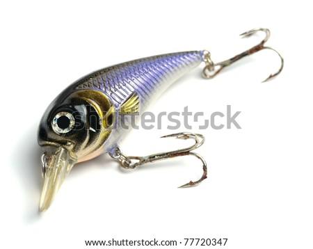 blue lure bait with three way hooks - stock photo