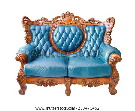 blue luxurious sofa on white background. clipping path. - stock photo