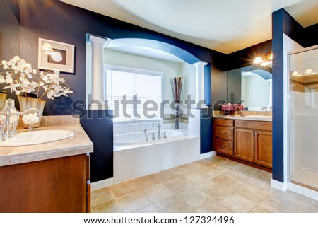 Blue luxury bathroom interior with white tub, sink and shower.