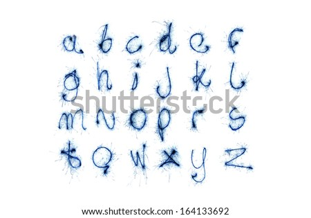 blue magic alphabet isolated on white backgriound  (see other letters in my portfolio) - stock photo