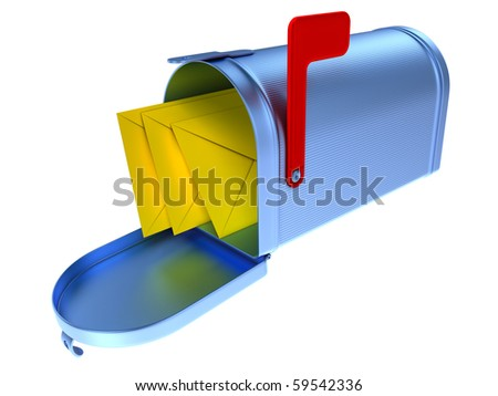 Blue mailbox and three yellow mails inside. - stock photo