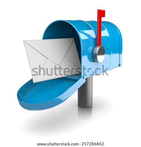 Blue Mailbox on White Background 3D Illustration - stock photo