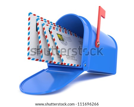 Blue Mailbox with Mails Isolated on White - stock photo